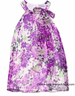 Maria Casero by Luli & Me Girls Lilac / Purple Floral Silk Chiffon Easter Dresses