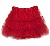 Max & Dora Girls Eve Tulle Three Tiered Petticoat - Christmas Red