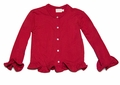 Max & Dora Girls French Terry Ruffle Cardigan Sweater - Red