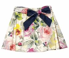 Max & Dora Girls Milly Gathered Skirt with Sash - Pink Cabbage Roses