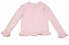 Max & Dora Girls Valentine French Terry Cardigan Sweater with Ruffle - Pink