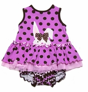 Molly & Millie Baby Girls Pink / Brown Dots Easter Bunny Bloomers Set