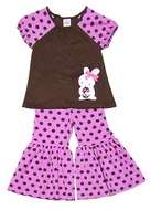 Molly & Millie Girls Brown Easter Bunny Top with Pink Ruffle Pants