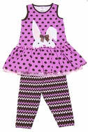 Molly & Millie Girls Pink / Brown Dots Easter Bunny Dress with Capri Leggings