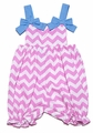Monday's Child Baby Girls Pink Chevron Striped Bubble