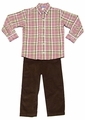 Monday's Child Boys Brown Corduroy Pants with Fall Plaid Shirt