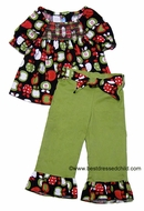 Monday's Child Girls Green Ruffle Pants with Black / Red / Green Apple Print Smocked Top