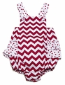 Monday's Child Infant Girls Red / White Chevron Stripes Ruffle Bubble