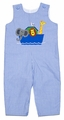 Mulberry Street Baby Boys Blue Mini Check Noah's Ark Animals Longall