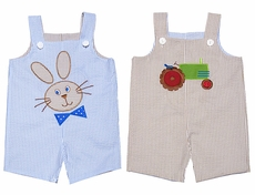 Mulberry Street Baby / Toddler Boys Reversible Shortall - Tan Tractor / Blue Easter Bunny