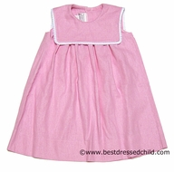 Mulberry Street Girls Pink Linen Blend Sleeveless Float Dresses with Square Collar