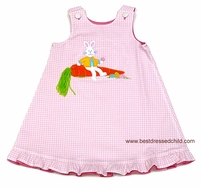 Mulberry Street Girls REVERSIBLE Dress - Pink Gingham with Easter Bunny / Hot Pink with Flower