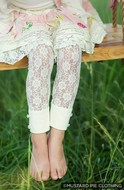 Mustard Pie Girls Special Edition Ivory Georgia Lace Leggings
