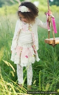 Mustard Pie Girls Special Edition Ivory / Petal Pink Easter Stella Cardigan Sweater