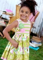 Mustard Pie Toddler Girls McKenna Pink / Green Rainbow Tiered Dress