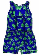 My Pool Pal Boys Flotation Swimsuits - Royal Blue with Green Frogs Print