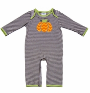 Peaches 'n Cream Baby Boys Brown Striped / Orange Chevron Pumpkin Romper