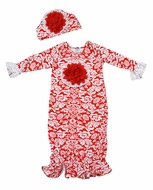 Peaches 'n Cream Baby Girls Christmas Red Damask Gown with Hat