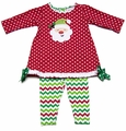 Peaches 'n Cream Baby Girls Red Dots Santa Claus Face Dress with Red / Green Chevron Leggings