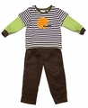 Peaches 'n Cream Baby / Toddler Boys Brown Pants with Orange Chevron Football Helmet on Striped Shirt
