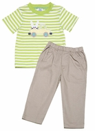 Peaches 'n Cream Baby / Toddler Boys Stone Pants with Green Striped Shirt - Easter Bunny in Truck