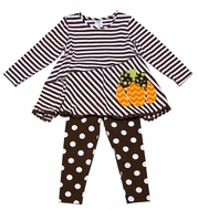 Peaches 'n Cream Girls Brown Dot Leggings with Striped / Orange Chevron Pumpkin Tunic