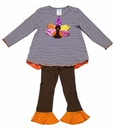 Peaches 'n Cream Girls Brown Striped Thanksgiving Turkey Tunic Set