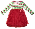 Peaches 'n Cream Girls Green / Red Christmas Chevron & Red Tulle Dress
