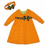 Peaches 'n Cream Girls Orange Chevron Dress with Headband