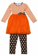 Peaches 'n Cream Girls Orange Chevron Tulle Tutu Dress with Brown Dot Leggings