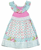 Peaches 'n Cream Girls Turquoise Blue / Pink Floral Apron Dress