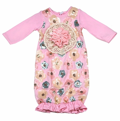 Peaches N Cream Infant Girls Blush Pink Ivory Sequins Gown