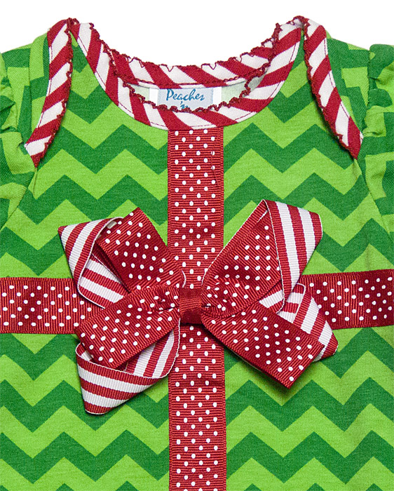 Peaches N Cream Infant Girls Green Chevron Christmas Gift