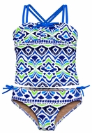 Penny Candy Girls Blue Ikat Print Two Piece Swimsuit