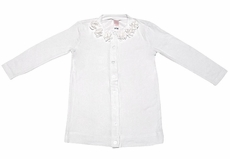Penny Candy Girls Flower Cardigan Sweater - Bright White