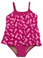 Penny Candy Girls Hot Pink Sea Horses Print Two Piece Swimsuit - Mara