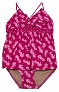 Penny Candy Girls Hot Pink Seahorse Print Two Piece Swimsuit - Harlow