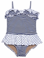 Penny Candy Girls Navy Blue / White Striped Ava Nautical Swimsuit