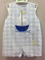 Petit Ami Baby Boys Blue Plaid Sailboat Shortall