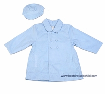 Petit Ami Baby Boys Cord Dress Coat with Hat - Light Blue