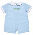 Petit Ami Baby Boys Turquoise Striped / Green Train Romper