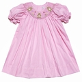 Petit Ami Baby Girls Pink Gingham Smocked Easter Bunnies Dress