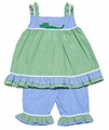 Petit Ami Baby / Toddler Girls Alligator Green / Blue Gingham Ruffle Capri Pants Outfit