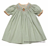 Petit Ami Baby / Toddler Girls Green Gingham Smocked Scarecrow / Pumpkin Dress