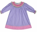 Petit Ami Baby / Toddler Girls Purple Gingham Dress - Smocked Pink / Green Collar
