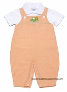Petit Ami Infant Baby Boys Orange Check Longall with Shirt - Green Truck with Pumpkin