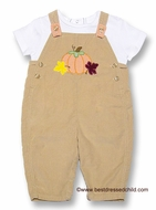 Petit Ami Infant Baby Boys Tan Cord Longall with Shirt and Harvest Pumpkin / Leaves