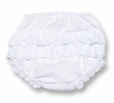 Petit Ami Infant Baby Girls White Diaper Cover With Eyelet