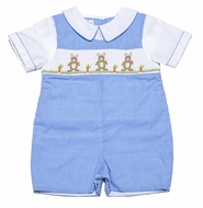 Petit Ami Infant Boys Blue Check Smocked Easter Bunnies Shortall