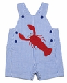 Petit Ami Infant / Toddler Boys Blue Seersucker / Red Lobster Overall
